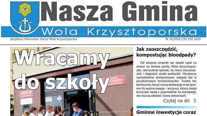 """Strona tytułowa biuletynu """"Nasza Gmina Wola Krzysztoporska"""" nr 78"""