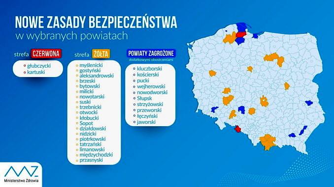 Koronawirus w Polsce. Aktualna lista powiatów z dodatkowymi obostrzeniami z powodu pandemii - Ministerstwo Zdrowia