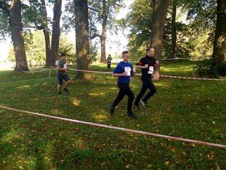 Biegacze na wyznaczonej taśmami trasie w parku wśród drzew