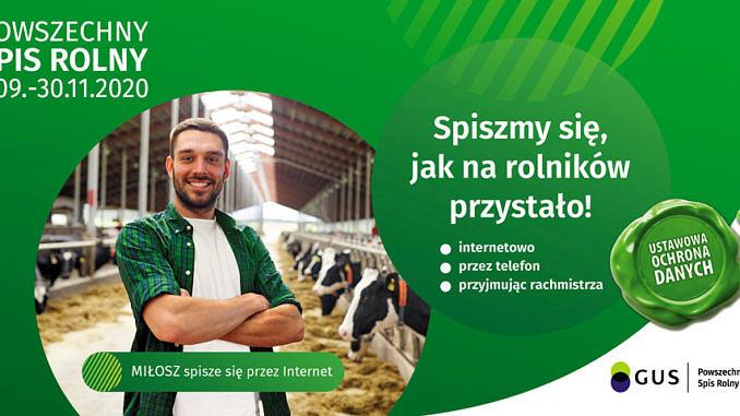 Plakat młody rolnik na tle obory z bydłem; napis biały na zielonym tle: spiszmy się, jak na rolników przystałt