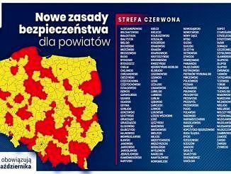 Nowe zasady bezpieczeństwa dla powiatów - mapa i spis powiatów w strefie czerwonej