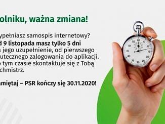 Plakat z budzikiem: Rolniku, ważna zmiana! Wypełniasz samospis internetowy? Od 9 listopada masz tylko 5 dni!