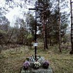 Kapliczka (Krzyż) ozdobiona chryzantemami w doniczkach
