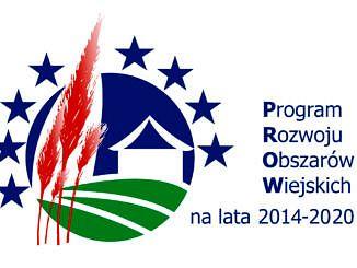 Logo: Program Rozwoju Obszarów Wiejskich na lata 2014 - 2020; wposany w koło obraz biało-niebieskiego domu stojącego na zielonym polu; obok czrwone kłosy zbóż i niebieskie europejskie gwiazdki