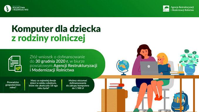 """ARiMR baner z hasłem """"komputer dla dziecka z rodziny rolniczej; przy stoliku siedzi matka z dzieckiem"""