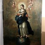 Obraz Niepokalanej po konserwacji - Maryja z lilią w dłoni stoi na kuli ziemskiej i noga przyciska głowę węża