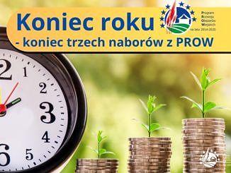 Plakat z zegarem i monetami oraz napis koniec roku - koniec trzech naborów z PROW