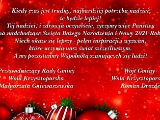 Życzenia na czerwonym świątecznym tle - jak w treści wiadomości