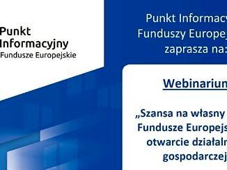 Fundusze Europejskie plakat na biało-niebieskim tle informacja jak w załączonej wiadomości