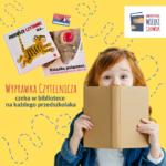 Logo - wyprawka czytelnicz - dziewczynka zasłania usta książką; żółte tło, obok książki dla dzieci