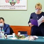 Prezydium Rady Gminy podczas sesji budżetowej