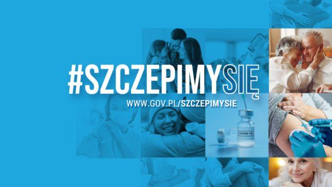 plakat na niebieskim tle: hasztag szczepimy się