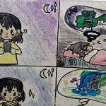 rysunek - jak wygląda sen po bezustannym korzystaniu z telefonu, a jak bez