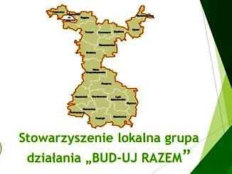 Stowarzyszenie LGD BUD-UJ Razem; mapa z obszarem, na którym działa towarzyszenie