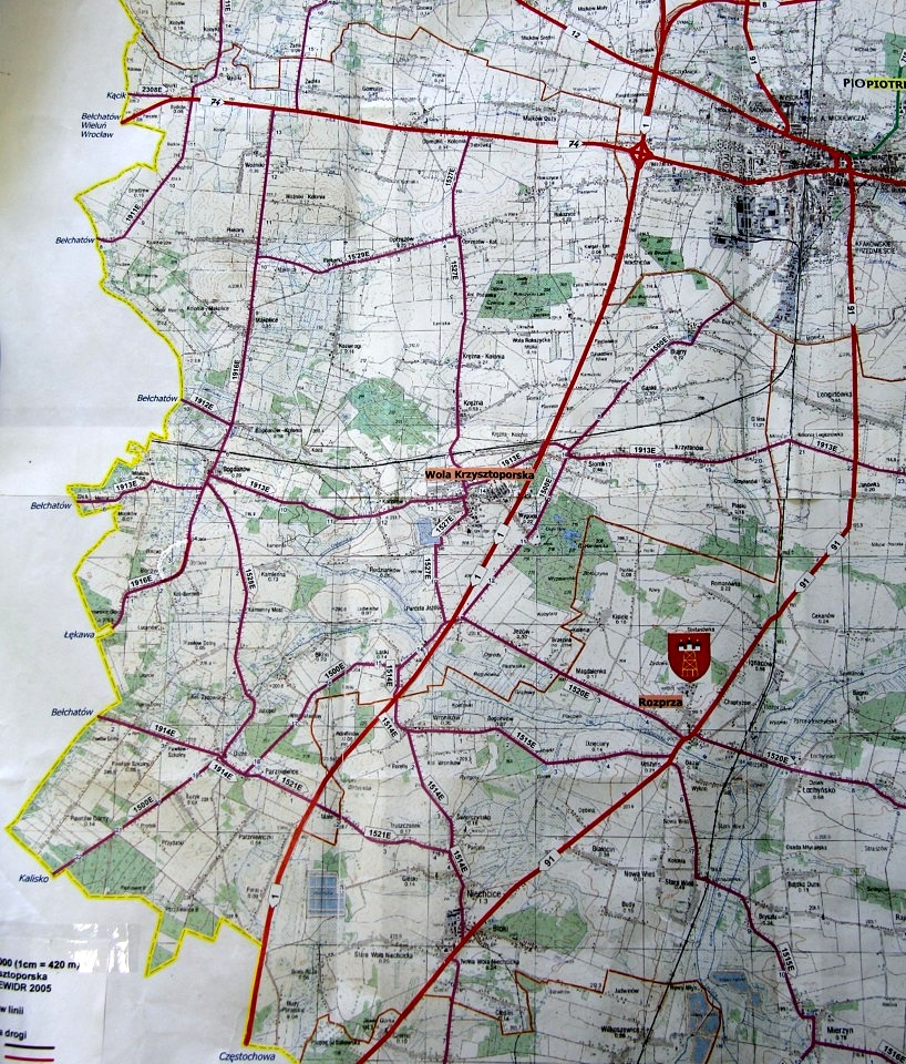 Mapa dróg na terenie gminy Wola Krzysztoporska