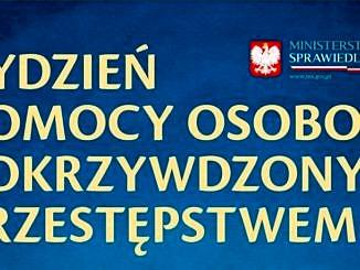Plakat - napis na niebieskim tle: Tydzień pomocy osobom pokrzywdzonym przestępstwem