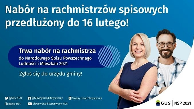 Plakat - na niebieskim tle dwoje uśmiechniętych mlodych ludzi; informacja - nabór na rachmistrzów spisowych przedłużony do 16 lutego