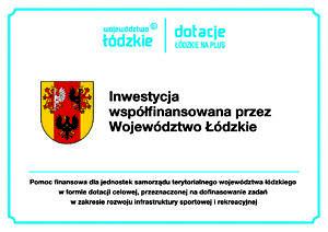 Tablica informacyjna z herbem województwa łódzkiego - inwestycja współfinansowana przez województwo łódzkie; dotacje