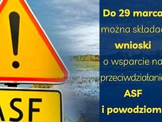 plakat -na tle terenu zalewowego żółty trójkąt ostrzegawczy i tabliczka ASF