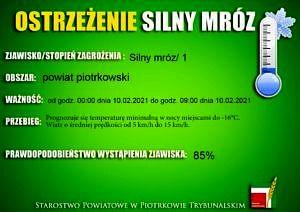 Ostrzeżenie - silny mróz; napis na zielonym tle