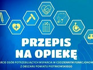 plakat na niebieskim tle sześciokąty z róznymi potrzebami zdrowotnymi; napis przepis na opiekę