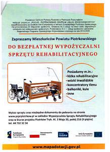 Plakat informujący o bezpłatnej wypożyczalni sprzętu rehabilitacyjnego; obraz - wózek inwalidzki i łóżko rehabilitacyjne; informacje jak w treści