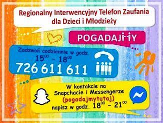 Kolorowy baner (żółty, różowy, pomarańczowy, niebieski) a na nim numer telefonu zaufania i kontakt na snapchacie i messengerze