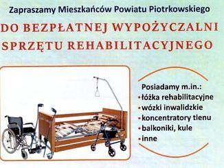 Plakat informujący o bezpłatnej wypożyczalni sprzętu rehabilitacyjnego; obraz - wózek inwalidzki i łożko rehabilitacyjne; informacje jak w treści