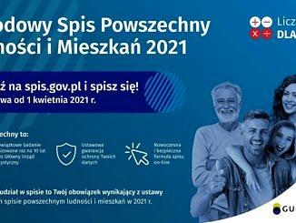 plakat na niebieskim tle napis :Narodowy Spis Powszechny Ludności i Mieszkań; w rogu uśmiechnięte cztery osoby