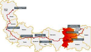 schematyczna mapka przebiegu gazociągu przez gminy - trasa wyznaczona czerwoną linią