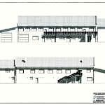 Projekt elewacja frontowa i tylna przebudowywanego Domu Ludowego w Gomulinie