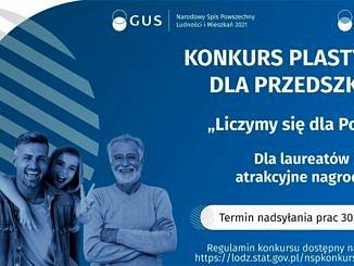 Plakat GUS dotyczący Spisu Powszechnego - na niebieskim tle na dole 4 uśmiechnięte osoby; obok napis konkurs plastyczny dla przedszkoli (treść jak w informacji)