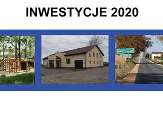 Inwestycje 2020; trzy zdjęcia w niebieskich ramkach - na pierwszym park, na tle drzew plac zabaw z drewnianych elementów; na drugim zdjęciu dom ludowy w Oprzężowie - jasny budynek z brązowym dachem i oszklonym gankiem; trzecie zdjęcie - asfaltowa droga, zielony przekreślony znak z napisem Rokszyce Drugie