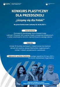 Plakat GUS dotyczący Spisu Powszechnego - na niebieskim tle na dole 4 uśmiechnięte osoby; powyżej napis konkurs plastyczny dla przedszkoli (treść jak w informacji)