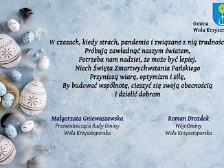 Na niebieskim tle z boku pisanki, po środku życzenia wielkanocne(jak w informacji); w prawym górnym roguherb i napis Gmina Wola Krzysztoporska