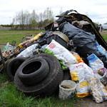 Kupa śmieci, m.in. opony plastikowe wiadra