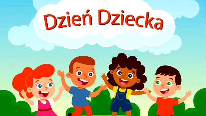 Plakat z napisem Dzień Dziecka w chmurce, pod spodem dzieci o róznym kolorze skóry