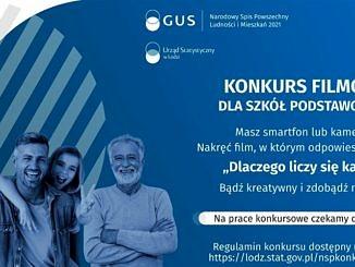 plakat narodowego spisu powszechnego na niebieskim tle czworo uśmiechniętych ludzi w różnym wieku; napis konkurs filmowy dla szkół podstawowych; informacje jak w treści