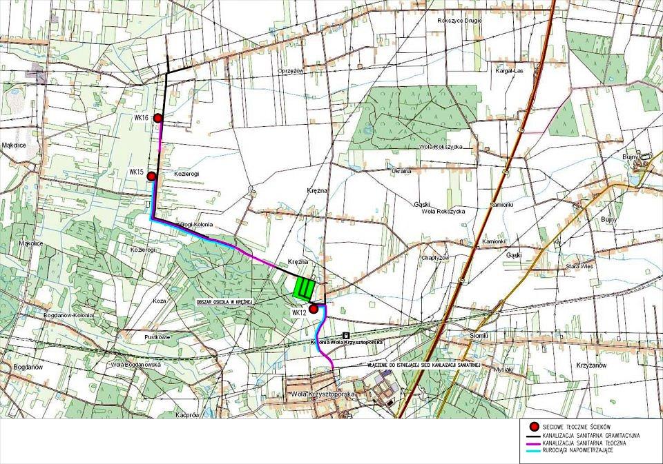 Kanalizacja Krężna, Kozierogi, Piekarki - mapa