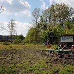 Prace przy porządkowaniu placu sołeckiego w Parzniewiczkach