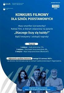 plakat narodowego spisu powszechnego na niebieskim tle czworo uśmiechniętych ludzi w różnym wieku; napis konkurs filmowy dla szkół podstawowych; informacje jak w treści, nagrody