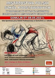 Rysunek dwóch zapaśników i napis Mistrzostwa Polski Szkół Podstawowych Gomulin 7-8.05.2021; informacje jak w treści