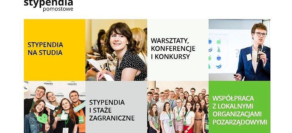 plakat stypendia pomostowe - w kilku kwadratach młodzi ludzie różne opcje wsparcia - stypendia, warsztaty, staże