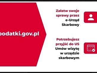 Z lewej strony napis podatki.gov.pl, po prawej stronie napis Załatw swoje sprawy przez e-Urząd Skarbowy, niżej Potrzebujesz przyjść do US - Umów wizytę w urzędzie skarbowym