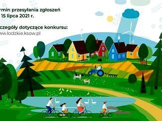 kolorowy rysunek z jeziorkiem domkami i jadącą na rowerach rodziną; informacje jak w treści