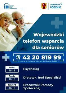 Plakat biało-niebieski: dwoje starszych ludzi przy telefonie; napis Wojewódzki telefon wsparcia dla seniorów; poniżej numer 42-20-819-99 i informacja, jacy specjaliści przyjmują w poszczególnych dniach (jak w treści)