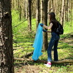 Ludzie sprzątający teren przy drodze i fragment lasu