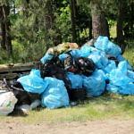 Kupa śmieci - niebieskie i czarne worki