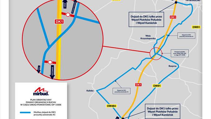 Mapka odcinka budowanej autostrady A1 na odcinku Piotrków Kamieńsk