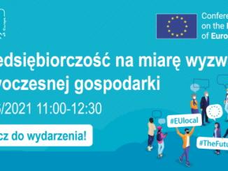Plakat - na niebieskim tle napis biały napis Przedsiębiorczość na miarę wyzwań nowoczesnej gospodarki